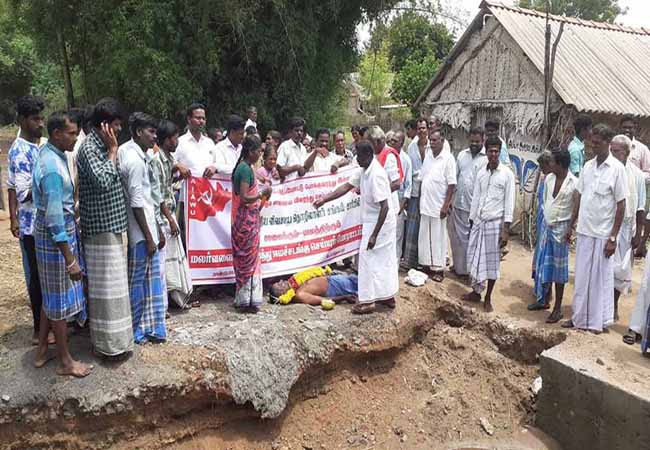 cuddalore kattumannarkoil not get road facilities peoples strike