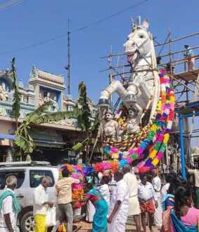 Masimagam Festival Paper flower garlands pile up for the huge horse statue