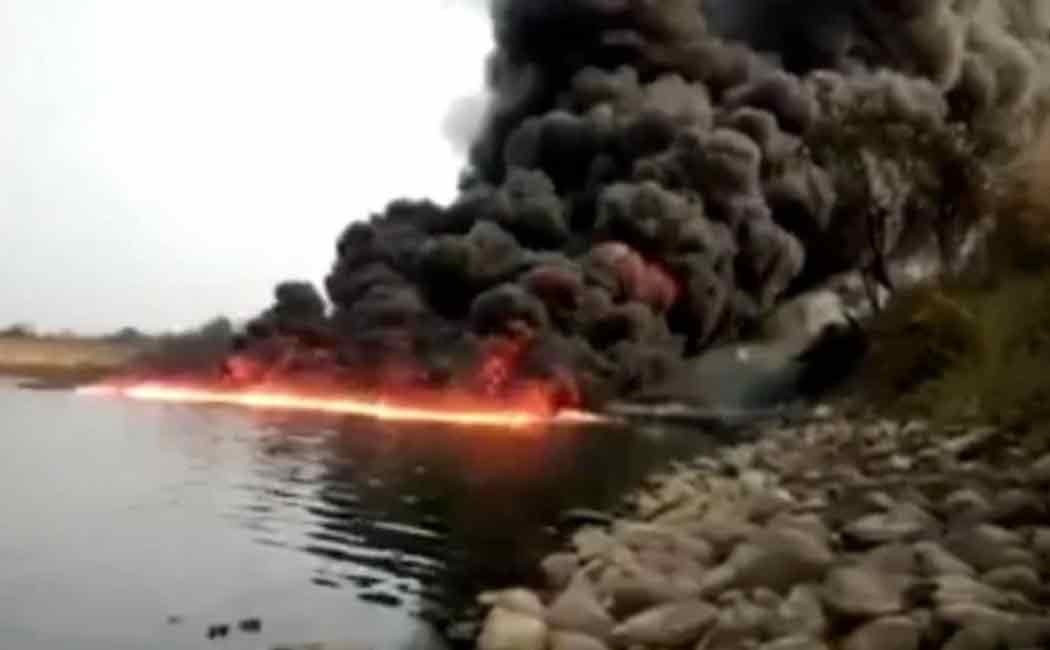 oil india limited pipeline causes fire in Burhi Dihing River