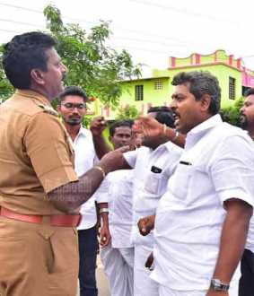 congress workers protest in nanguneri