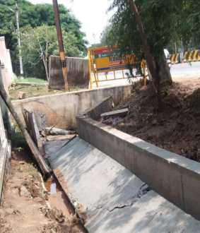 sewage water newly constructed rain damage in dharmapuri