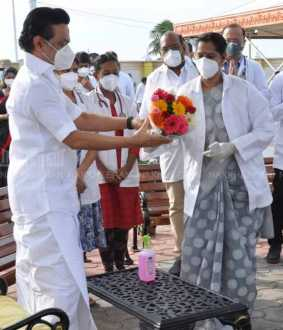 MK Stalin Say Thanks to Corona Doctors at the Kalaignar Karunanidhi memorial
