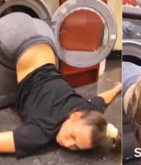 student stuck in washing machine