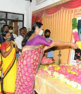 DMDK premalatha vijayakanth pay homage to anna