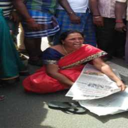 Government transport superintendent dharna with tears
