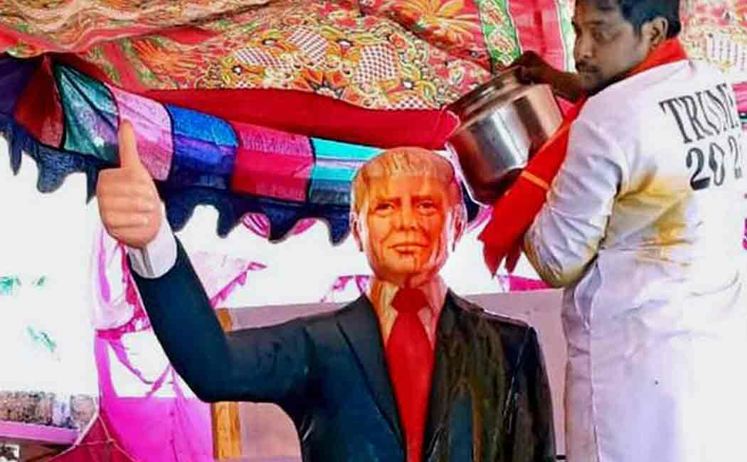 telangana man  installed a life size statue of the US President Donald Trump