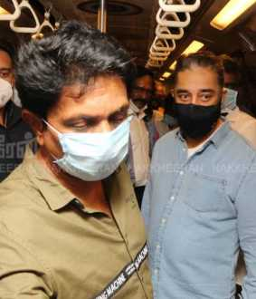 TN ASSEMBLY ELECTION CAMPAIGN KAMALHAASAN TRAVELLING THE METRO TRAINS