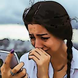 College girl crying with phone