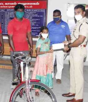 nagapattinam - School Student corona help - Bicycle -