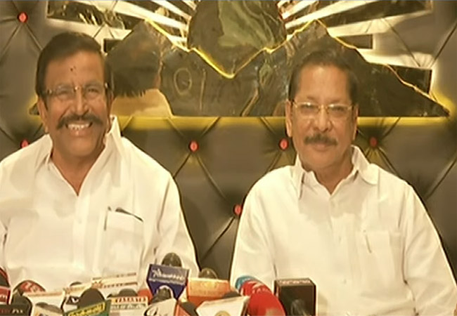 dmk party leaders pressmeet at anna arivalayam
