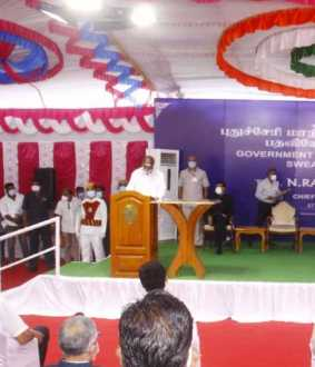 puducherry chief minister n.rangasamy swearing in oath ceremony