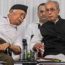 Mohan Bhagwat and Pranab Mukherjee