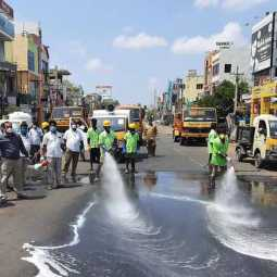 Disinfectant spray with sophisticated machinery in Chidambaram municipality