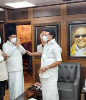 Leaders of the Indian Union Muslim League met and congratulated MK Stalin ..!