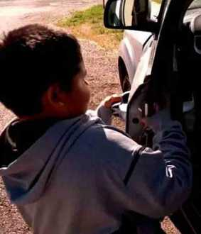 five year old boy drives car in usa