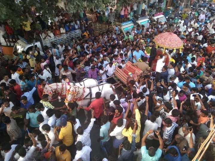 Natarajan returns to Chinnappampatti ... Public welcome with horse chariot!