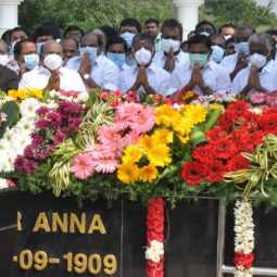The AIADMK paid floral tributes to the Anna Memorial ... (Pictures)
