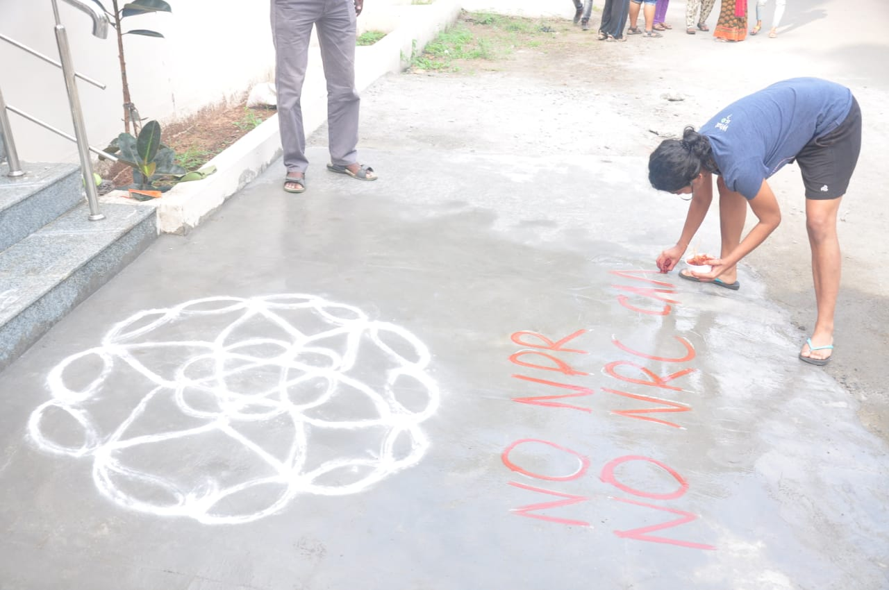 rangoli to against CAA in stalin home