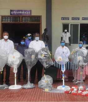 Businessmen donate 11 fans to Government Hospital Corona Ward ..!