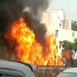 Sudden fire in a car on the road in chennai porur