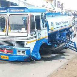 The petrol tanker lorry accident near tiruvannamalai