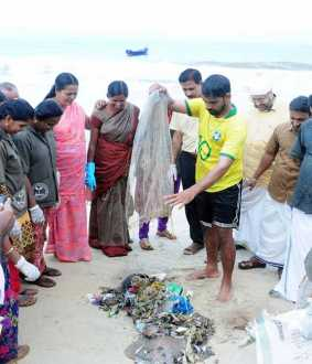 Marine pollution plastics  Kerala youth alert awareness