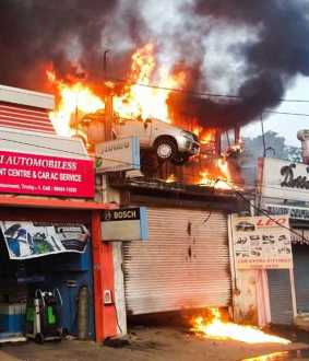 Power outage disaster .. Three shops burnt to ashes