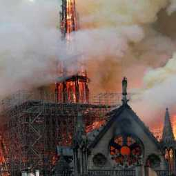 fire accident at notredame cathedral church in france