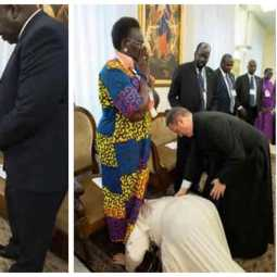 pope francis kissed south sudan policians feet