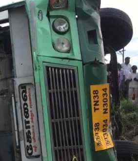 government bus Accident  near Annur; More than 15 injured
