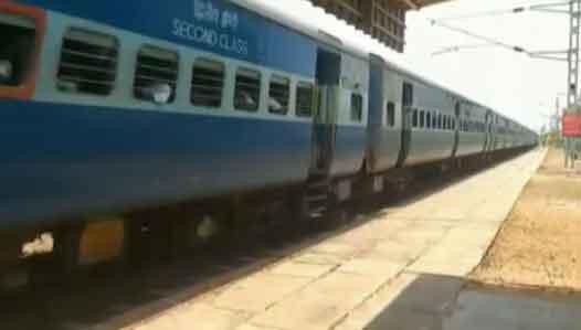 Passenger train on the same track in Madurai
