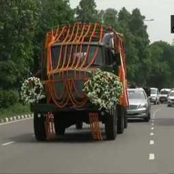 former union minister arun jaitley funeral procession began