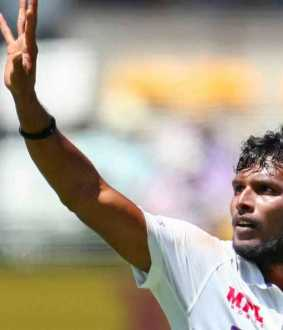 Natrajan took his first wicket in international test
