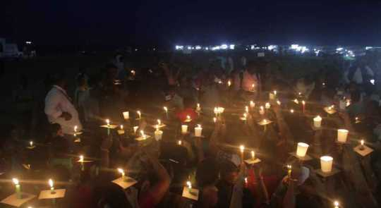Sri Lankan blasts incident-candles carrying Prayer in Chennai (Photos)