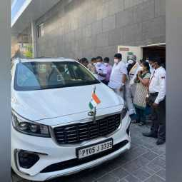 Chief Minister Rangasamy returns home from Corona