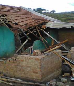 Elephant damaged villager house