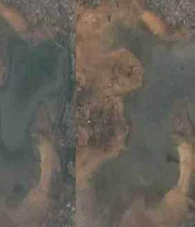 puzhal Lake at the peak of the drought... Shocking Satellite Photos !!