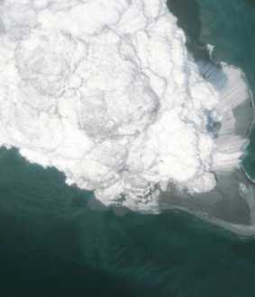 If an underwater volcano erupts   How large will the blob that is formed be?