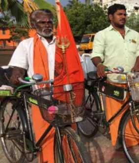Sand on bicycle to build Rama Temple