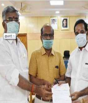 AIADMK District Secretary gave fund to  Corona impact
