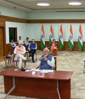 PM NARENDRA MODI VIDEO CONFERENCING MEETING ALL STATES CM