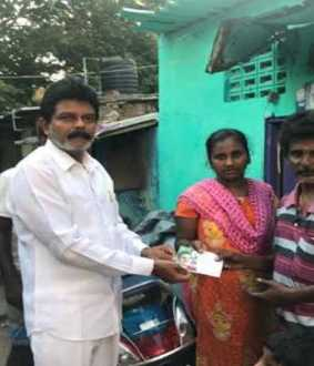 Congress party administered to 2000 poor families in North Chennai