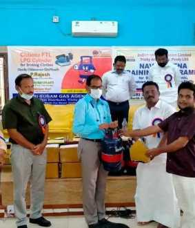 indane gas cylinder attached iron box introduced